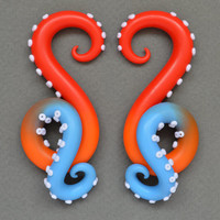 Octopus Ear Plugs and Fake Gauge Earrings, Ear Gauges in Size 4g, 2g, 0g, 00g, 7/16, 1/2, 9/16, 5/8 and Fake Plugs, Octopus Gauges, Tentacle