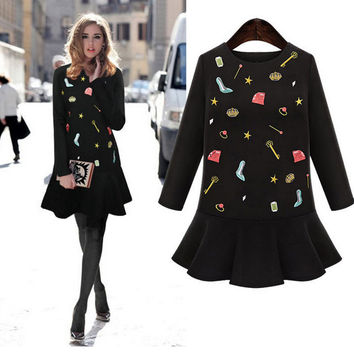 Long Sleeve Autumn Women's Fashion Ladies Print Black One Piece Dress [9087821316]