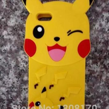 3D s Poke Soft Silicone Case For Iphone 6 6S Plus I6 5 5S SE Cartoon Pikachus Pocket Monsters Go Phone Skin Cover 1pcsKawaii Pokemon go  AT_89_9