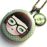 Nerdy Girl Glasses Locket Reads Reading Word Pendant Brass Setting Library Card Necklace One of a Kind