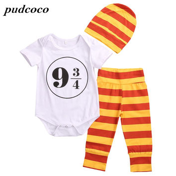 Summer 3 pcs for baby girl boy Harry Potter Toddler Baby Bodysuit Newborn Jumpsuit Bodysuit For Lovely Baby Clothes Outfit