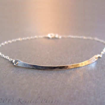 Hammered Bar Bracelet in Sterling Silver or 14k Gold-Filled (rose or yellow) - Eco-Friendly original jewelry design