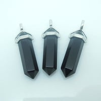 1PC Natural Black Onyx Healing Point Pendant Pendulum, Crystal Point Party Memorabilia Gift