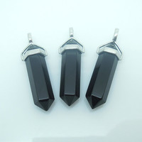 1PC Natural Gemstone Black Onyx Point Pendulum Pendant Healing Crystal Point Pendulum Party Memory Gift