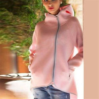 Hooded Zipper Irregular Cardigan Jacket Coat