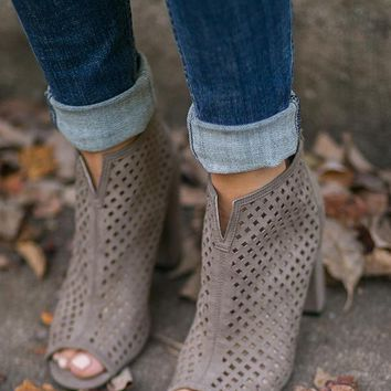 The Gigi Bootie in Taupe