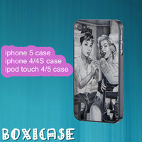 Audrey Hepburn and Marilyn Monroe--iphone 4 case,iphone 5 case,ipod touch 4 case,ipod touch 5 case,in plastic,silicone,cute iphone 4 case.