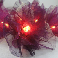 20 Burgundy Carnation Flower Fairy STRING LIGHTS