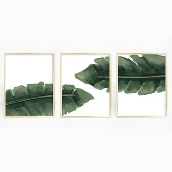 Banana Leaf Tropical Wall Art Triptych Print