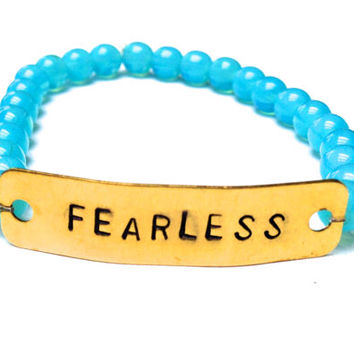 Fearless Hand Stamped Metal Stamped Mantra Bead Stretch Bracelet