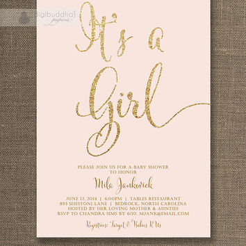 Blush Pink & Gold Baby Shower Invitation It's a Girl Gold Glitter Pastel Pink Script Modern Shabby Chic Printable Digital or Printed - Mila