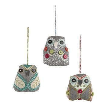Set of 3 Button Owl Ornaments