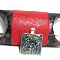 Silver Steampunk Butterfly Square Resin Pendant