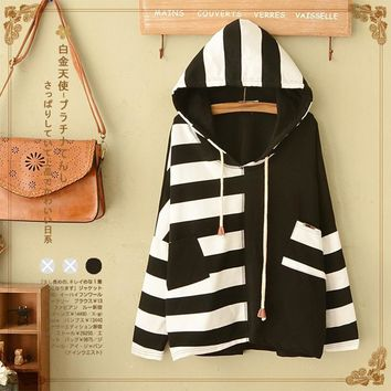 Japanese Spring Sweet Striped Patchwork Loose Hooded Hoodies Women Harajuku Long Sleeve Cute Kawaii Pullover Hoodie Coats T219