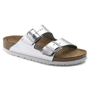 Birkenstock Arizona Soft Footbed Leather Metallic Silver 1005960/1005961 Sandals