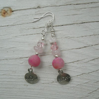"Pink and silver ""Believe"" earrings - dangle earrings, silver round believe charms, hot pink Dragon Vein, quartz chips, breast cancer support"
