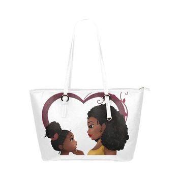 African American Mommy and Me  PU Large Tote Bag