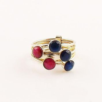 Sapphire & Ruby Sterling Silver Two Tone Stack Ring
