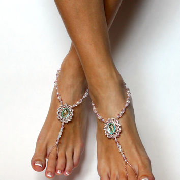 Champagne and Light Blue Barefoot Sandals