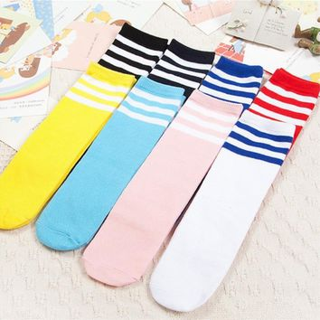 Kids Knee High Socks For Girls Boys Football Stripes Cotton Sports Old School White Socks Skate Children Baby Long Tube Leg Warm