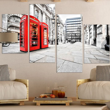 Black and White London Wall Art Gift // London Fine Art Photography Photo on Canvas Wall Décor Gift for Home // Phone Booth Wall Art Décor