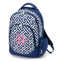 Monogrammed Backpack Navy Greek Key School Bookbag Back Pack Book Bag