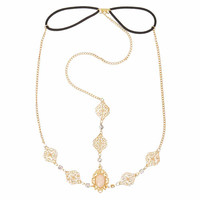 Gold Medallion with Iridescent Oval Stone 3-Way Headchain Headwrap