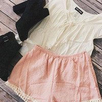 Dakota Peach Tassel Trim Shorts