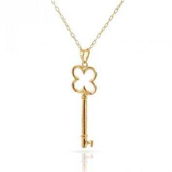 Open Clover Key Pendant High 14K Gold Plated Sterling Silver Necklace