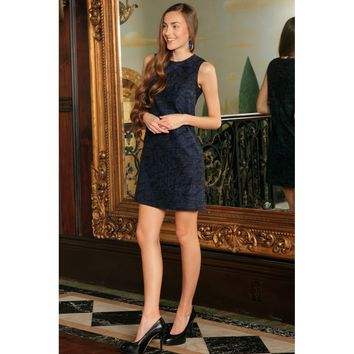 Navy Blue Animal Print Sleeveless Evening Shift Mini Dress - Women