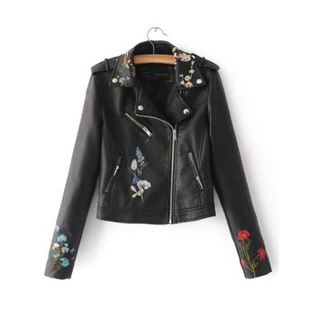 Embroidered Bomber Faux Leather Biker Jacket