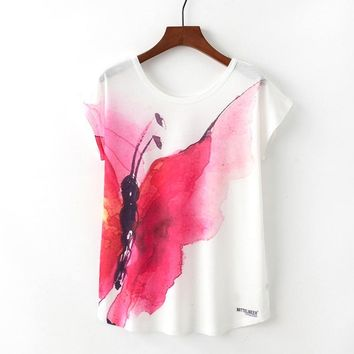 Butterfly Watercolor Paint Flowy Loose T-Shirts