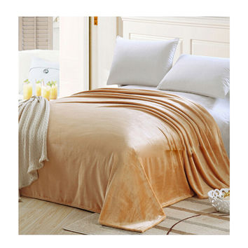 Plush Soft Queen Soild Color Micro fleece Bed Throw Blanket  Camel