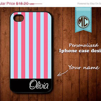 20% OFF SALE Personalized iPhone Case - Plastic or Silicone Rubber Monogram iPhone 4 4S Case Cover - K095