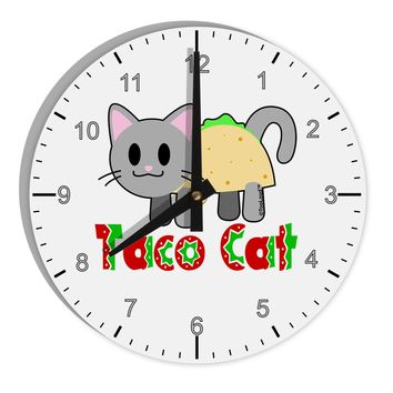 "Cute Taco Cat Design Text 8"" Round Wall Clock with Numbers by TooLoud"