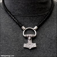 Viking Raven Style Mjolnir Thor's Hammer On Braided Leather Cord Necklace with Torc Connector