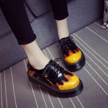 Retro Lace up Flame Low Martin Thick Bottom Shoes