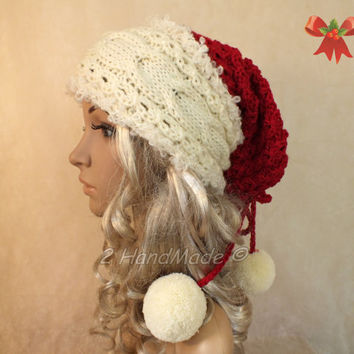 Santa Hat Adult Unisex Cable Lace Knit Oversized Beret Baggy Neck Warmer Slouchy Christmas Santa Hat Unisex beanie Chunky Tube Scarf Pom Pom