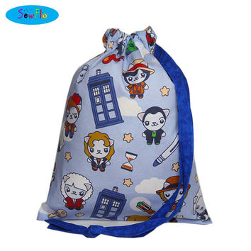 NEW! Knitting Bag-Sock Knitting Bag-Cats Project Knitting Bag-Doctor Who Knitting Project Bag-TARDIS Bag-Sock Bag-Project Bag