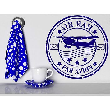 Vinyl Decal Par Avion Airmail French Paris Grunge Style Rubber Post Stamp Philatelist Airplane Wall Decor Mural Art Sticker Unique Gift (m606)