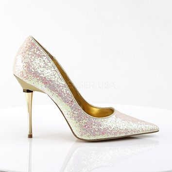 "Appeal 20G Rose Glitter Pointy Toe Pumps 4"" High Heel Shoes"