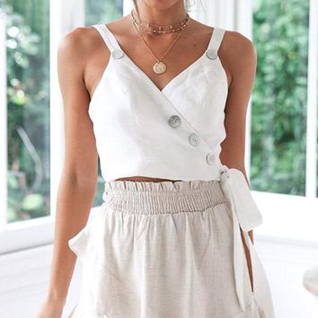 Bow Solid Women Camisole Tops Shirts Sexy Spaghetti Strap Camis Tops Shirts Beach Crop Tops Shirts
