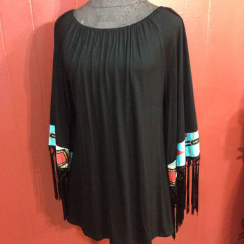 Black Shirt w/ Aztec&Fringe - Small