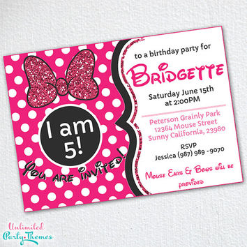 Glam Mouse Invitation / Minnie Mouse Inspired Birthday Party Invitation / Print At Home