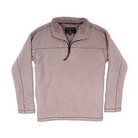 Bonded Polar Fleece & Sherpa Lined 1/4 Zip Pullover with Pockets in Sand by True Grit - FINAL SALE