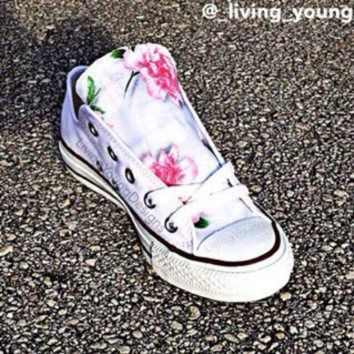 DCK7YE Floral Converse Shoes / Boho Light Pink Floral Chucks