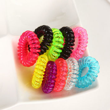 H032 10pcs/lot Candy color telephone coil circle not to hurt the hair rope rope(Random hair color)