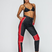 Just Ride Color Block Faux Leather Pants Red