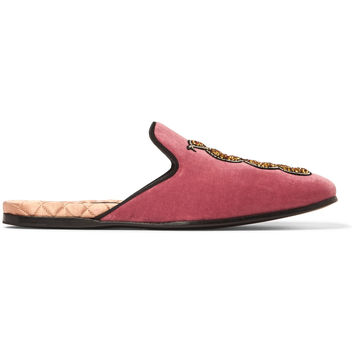 Gucci - Embellished Velvet Backless Loafers