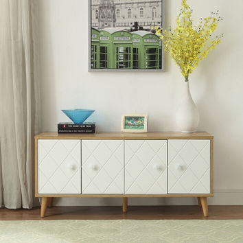 Acme 90165 Anita retro modern natural white finish wood tv stand